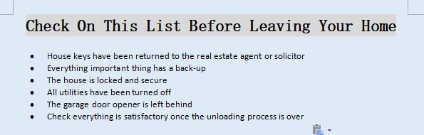 CheckList Before Leaving Your Home