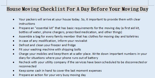 House Moving Checklist For A Day Before Your Moving Day