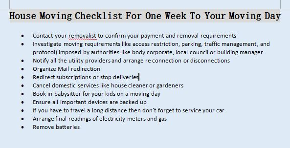 House Moving Checklist For One Week To Your Moving Day