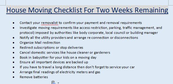 House Moving Checklist For Two Weeks Remaining