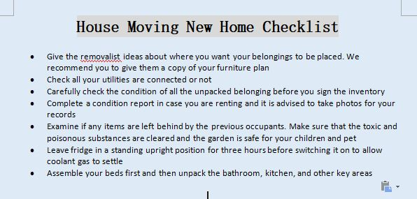 House Moving New Home Checklist