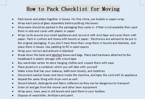 How to Pack Checklist for Moving
