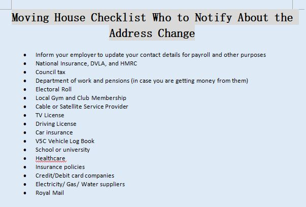 Moving House Checklist Who to Notify About the Address Change