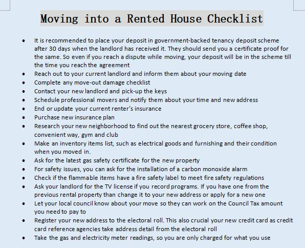 Moving into a Rented House Checklist