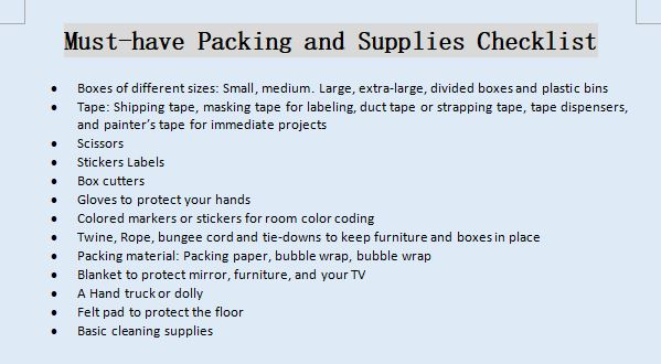 Must have Packing and Supplies Checklist