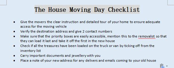 The House Moving Day Checklist
