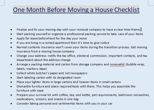 two month before house moving checklist